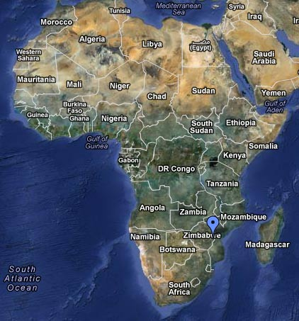Map of Africa showing where the Chaseyama Project Base is.